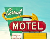"""neon sign, mid century modern, vintage sign, large art, large wall art, canvas art, large canvas art, retro, wall art - """"The Corral Motel"""""""
