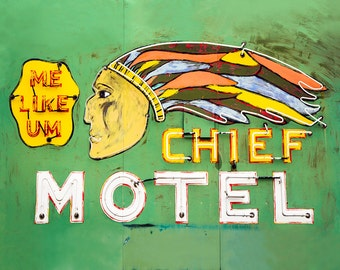 "motel sign, vintage neon sign, large art, large wall art, canvas art, wall art canvas, large canvas art, retro decor - ""The Chief Motel"""