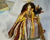 RESERVED Paula The Good Witch cloth fantasy art doll OOAK 10 1/2 in. tall w/black cat fairy doll