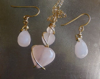 Rose Quartz 14k gold filled wire wrapped pendant & earrings set