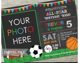 All-Star Birthday Bash Chalkboard Invitation - Photo - Soccer Basketball Baseball Football Party - Digital Invite