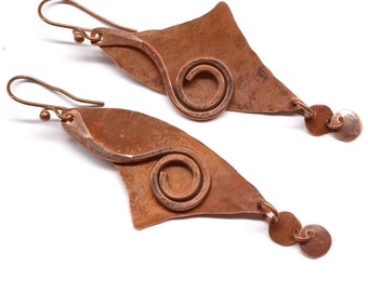 Rustic Copper Earrings E837
