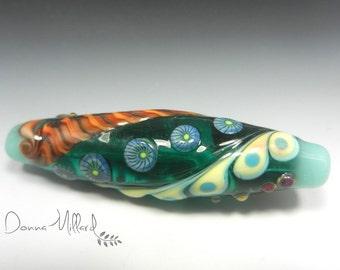 SRA HANDMADE LAMPWORK Glass Focal Bead Donna Millard organic turquoise autumn fall