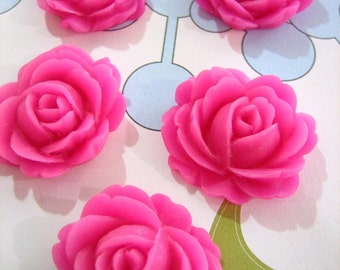 hot pink cabbage rose cabochons, 26x22mm flower cabs