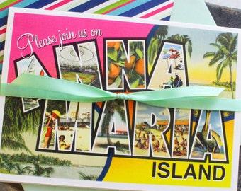Tropical Postcard Wedding Invitation | Anna Maria Island, Florida | Printed Pocket Fold Weding Invitation - Design Fee