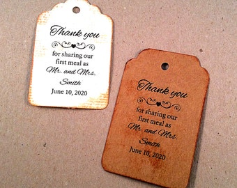 Wedding tags, vintage card, distressed tag, Personalized Tags, Thank you for sharing our first meal Tags
