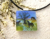 Horse Jewelry, Fused Glass Jewelry, Dichroic Glass Pendant, Three Horse Necklace, Equestrian, Horse Necklace, Necklace Included, 121215p112