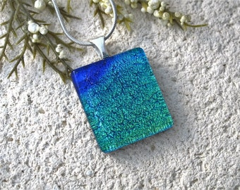 Petite Blue & Green Necklace, Blue Necklace, Dichroic Necklace, Fused Glass Jewelry, Dichroic Jewelry, Silver Necklace Included, 070816p101