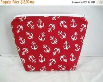 40% Off Nautical Cosmetic Pouch Red Anchors Flat Bottom Zippered Pouch