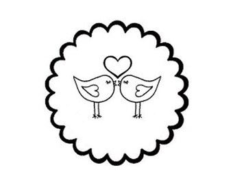 love birds in scallop border Rubber stamp great gift lovebirds wedding save the date