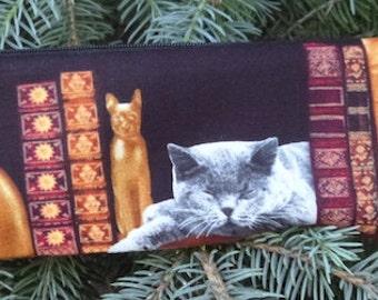 Cat chopstick pouch, knitting needle pouch, crochet hook pouch, long pen and pencil case, Cat Library, The Sleek