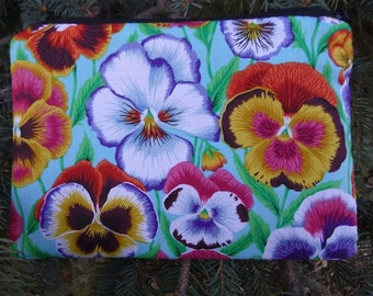Pansies zippered bag, makeup case, zippered pouch, accessory bag, Pansy, The Scooter