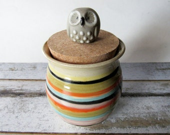 Striped Jar with Gray Owl - Ceramic Jar with vintage owl lid - Glazed in Oatmeal and Stripes