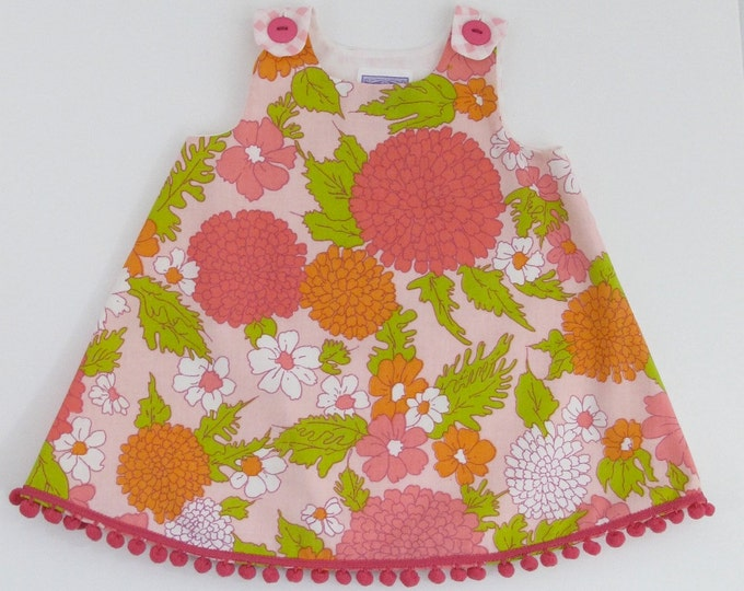 Girls Dress, Hydrangea Floral Baby Dress, Toddler Dress, Pink Dress, Floral Dress, Newborn Dress, Sizes Newborn to Girls 4T