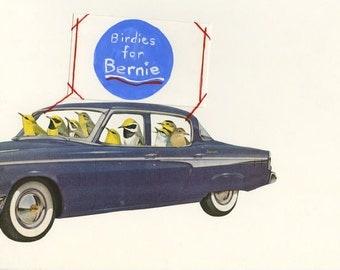 Birdies for Bernie.  Collage print by Vivienne Strauss.