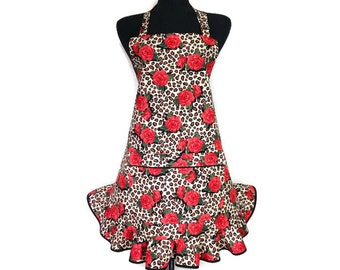 Roses on Leopard Print Apron, Pin Up Girl Kitchen Decor, Retro Style Ruffle