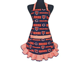 Chicago Bears Apron for Women, Navy Blue and Orange, Retro Style Ruffle with pocket.  Fully adjustable, Football kitchen decor