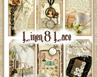 Linen and Lace Shabby Feminine Tags Set INSTANT DOWNLOAD Digital Printable