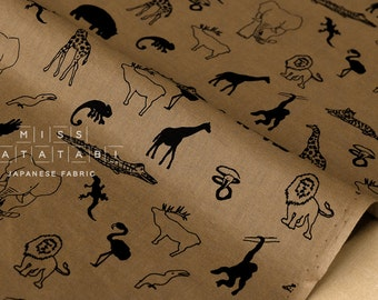 Japanese Fabric Wild Animals - coffee - 50cm