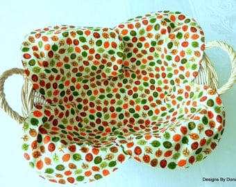Basket Liner, Centerpiece, Table Topper, Bread Cloth, Small Fall Leaves in an All Over Pattern, Handmade Table Linens