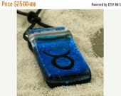 zodiac Pendant Taurus sign Blue Dichroic Glass Pendant with Greek leather cord valentines day sale..