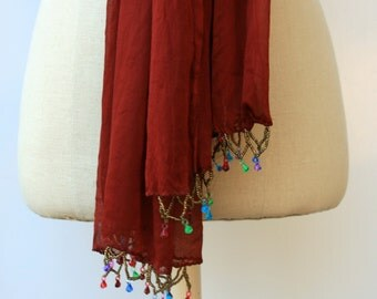 Beaded Indian scarf, Ethnic Vintage Scarf, brown rust scarf, Hippie scarf, BoHo scarf, women scarf, Bohemian little scarf, scarflette