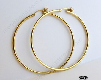 "65mm (2.55"") 2mm Thick 14K Gold Filled Hoop Earrings Earwires F23GF"