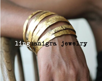Hand Etched Gold Plated Brass Bangles - Set of 3