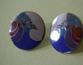 VINTAGE Laurel Burch CELESTIAL BIRDS pierced earrings