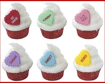 24 Valentine Sweet Talkers Heart Cupcake Ring Toppers/Favors! NEW!