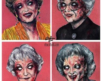 "Print 8x10"" - Zombie Golden Girls - Zombies Vintage Horror Dark Art Funny Pop Art Vintage Gay Gothic 80s TV Pink Lowbrow Blood Vampire"