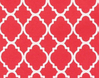 Red Quatrefoil Crib Skirt - Your Choice Pleated or Straight - Your Choice of Pattern