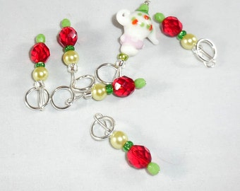 Christmas Tea stitch markers by AnniePurl