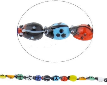 1 strand about 20 pcs 12x9mm handmade mix color ladybug lampwork glass beads-9842A