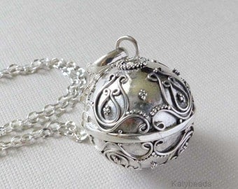 """Large 21mm Bali Sterling silver pregnancy bola harmony ball musical jingle chime charm pendant 36"""" chain necklace"""