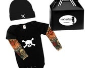 Skull & Crossbones Baby Gift Set - black onesie with tattoo sleeves, Hat and gift box