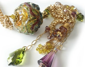 Lampwork Hollow Bead Long Necklace, Gold Chain, Crystals, Tassel Pendant, Amethyst, Olive Green, Burgandy, Beaded Jewelry, Beaded Necklace