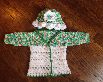 Spring Garden baby sweater and hat set