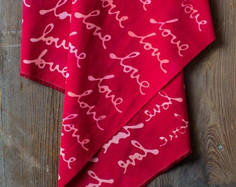 LOVE Hand Dyed and Patterned Cotton Fabric/ Coral and Red