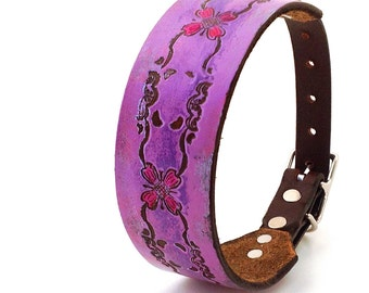 Rustic Pink Leather Dog Collar, Small Dog Collar, Leather Collar Dog with Flowers, Size S/M to fit a 13-16 Neck, Handmade from Seattle