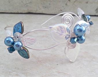 Blue Fairy Bracelet Wrist Corsage Arm Band Bridal Body Jewelry