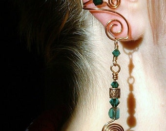 Ear Cuff Celtic Spirals Copper Green Irish, No Piercing Ear Cuff Earrings