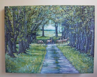 """Light over the Lane"""" 12 x 16 oil painting country lane with deer in spring"""