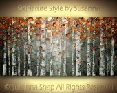 Birch Tree Landscape Art ORIGINAL Oil Painting Large Abstract Copper Aspen Texture Palette Knife Impasto Home Decor Wall Art Susanna