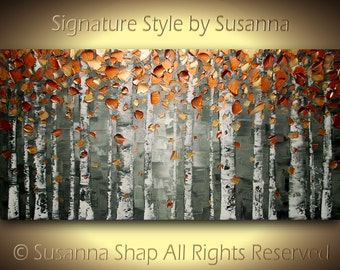 ORIGINAL Birch Tree Landscape Art Oil Painting Large Abstract Copper Aspen Texture Palette Knife Impasto Home Decor Wall Art Susanna