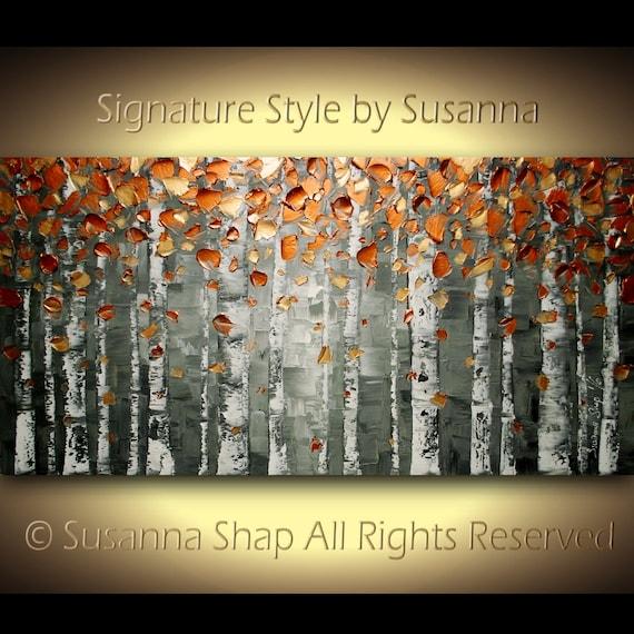 ORIGINAL Birch Tree Landscape Art Oil Painting Large Abstract Copper Aspen Tree Painting Home Decor Wall Art Texture Palette Knife  Susanna