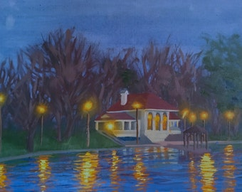 "original oil painting ""Carondelet Twilight"" impressionist night painting"