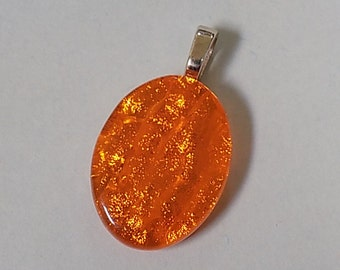 Orange Wavy Fused Dichroic Art Glass Pendant with Necklace chain handcrafted by Art Glass Jewelry