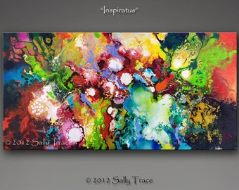 Giclee print on canvas from my original abstract painting Inspiratus, spiritual art, inspirational art, spiritual painting 18x36