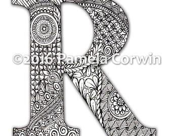 R Monogram Coloring Page